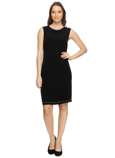 Fabrika Kolsuz Kısa Elbise Siyah